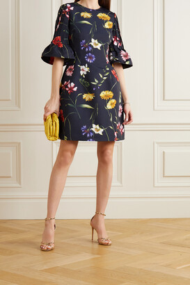 OSCAR DE LA RENTA - Pleated Floral-print Crepe Mini Dress - Blue