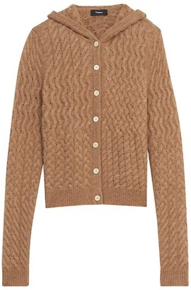 Theory Hooded Cable-Knit Cardigan