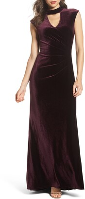 Eliza J Side Pleated Velvet Choker Gown