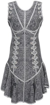 Herve Leger Cathryn Lace-up Jacquard-knit Dress