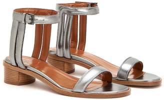 Aquatalia Randa Metallic Leather Ankle Strap Sandal