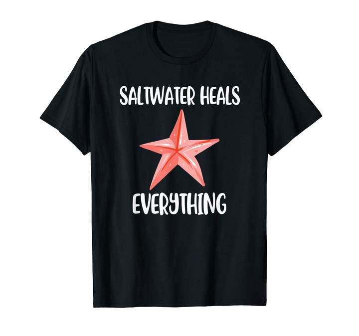 Heal's Ocean Summer Vacation Saltwater Heals Everything Starfish T-Shirt
