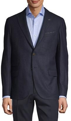 Eleventy Standard-Fit Wool, Silk Cashmere-Blend Blazer