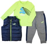 Puma Boys 4-7 Quilted Vest, Tee & Logo Jogger Pants Set