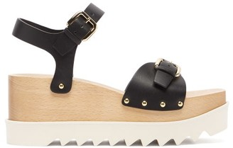 Stella McCartney Elyse Faux-leather Wood-platform Sandals - Black
