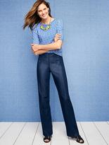 Talbots Weekend Ribbed Envelope-Bateau Tee-Gingham