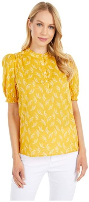 Lucky Brand Feminine Popover Top (Yellow Multi) Women's Clothing