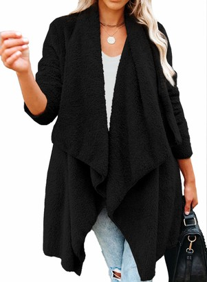 Actloe Women Open Front Solid Drape Jacket Long Sleeve Cardigan Fleece Outwear Fuzzy Jacket Coats with Pocket A Black Medium