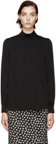 Dolce & Gabbana Black Stand Collar Silk Top