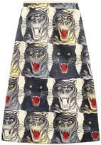 Gucci Tiger face print silk a-line skirt