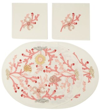Loretta Caponi - Set Of Two Embroidered Linen Napkins And Placemats - Pink Multi