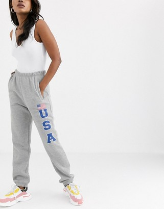 Daisy Street relaxed cuffed joggers with usa print-Grey