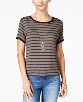 Ultra Flirt Juniors' Striped Ringer T-Shirt