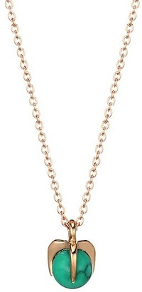 ginette_ny Maria 18K Rose Gold & Turquoise Single Bead Pendant Necklace