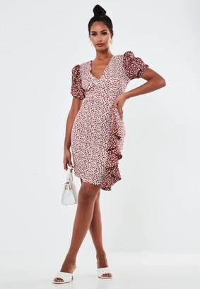 Missguided Tall Cream Floral Mix Wrap Mini Dress