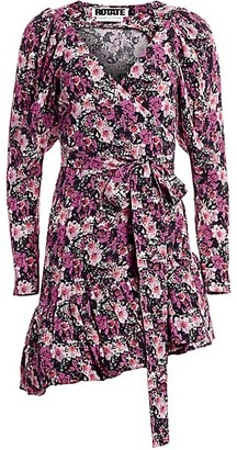 Rotate by Birger Christensen Nancy Floral Lurex Wrap Dress