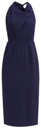 Roland Mouret Ronda Gathered-bodice Rippled-crepe Midi Dress - Navy