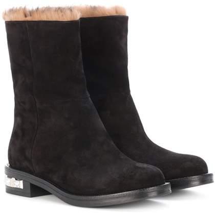 Miu Miu Fur-lined suede boots