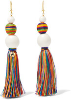 Rosantica Arlecchino Tasseled Beaded Gold-tone Earrings - White