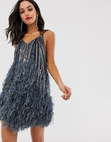 Asos Edition EDITION sequin cami mini dress with faux feather hem