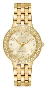Citizen Eco-Drive Swarovski Crsytal Goldtone Stainless Steel Bracelet Watch
