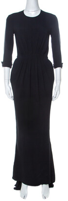 Stella McCartney Navy Blue Stretch Cady Gathered Waist Maxi Dress S