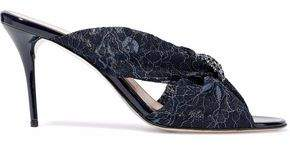 Oscar de la Renta Crystal-Embellished Corded Lace Mules