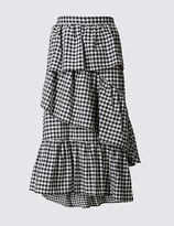 Marks and Spencer Cotton Rich Gingham Ruffle Midi Skirt