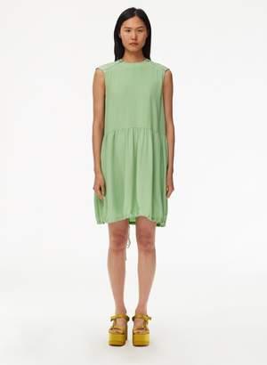 Tibi Eco Silk Short Cape Dress with Belt