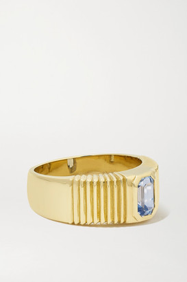 Retrouvaí Pleated Solitaire 14-karat Gold Sapphire Ring - 5