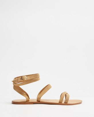Atmos & Here Atmos&Here - Women's Brown Strappy sandals - Ruth Leather Sandals - Size 8 at The Iconic