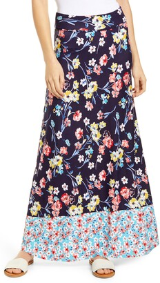 Loveappella Border Print Roll Top Maxi Skirt