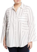 Vince Camuto Plus Button-Front Bell-Sleeve Blouse, Plus Size