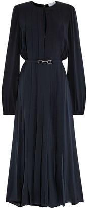 Gabriela Hearst Adelaide Belted Pleated Silk-georgette Midi Dress