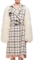 Carven Plaid Belted Top Coat W/ Fur Sleeves, Multi Pattern