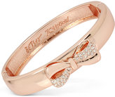 Betsey Johnson Rose Gold-Tone Pavé Bow Bangle Bracelet
