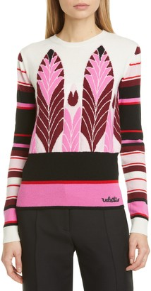 Valentino Feather Intarsia Wool & Cashmere Sweater