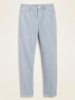 Old Navy High-Waisted Power Slim Straight Railroad-Stripe Ankle Jeans for Women