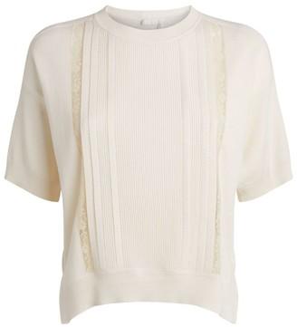 Chloé Cotton-Rich Lace Panel Sweater
