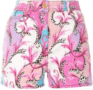 Versace Barocco floral denim shorts