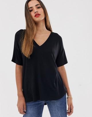 Asos Design DESIGN v neck oversized t-shirt in textured jersey in black
