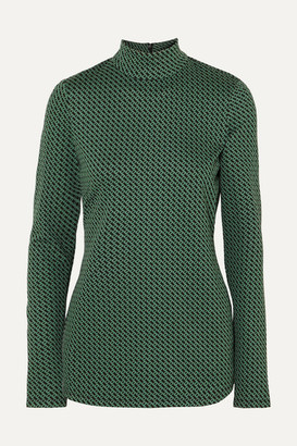 Diane von Furstenberg Kasen Stretch-jacquard Turtleneck Top - Green