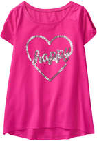 Crazy 8 Bright Pink Heart 'Happy' Knit Hi-Low Tee - Toddler & Girls