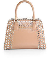 Prada Saffiano Vernice Embellished Frame Pyramid Top-Handle Bag
