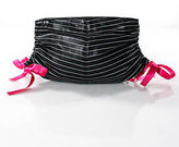 Lorelei Multi-Color Leather Striped Gather Bow Detail Clutch Small