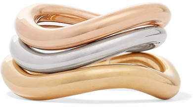 Charlotte Chesnais Wave Set Of Three Gold And Rose Gold Vermeil And Silver Rings