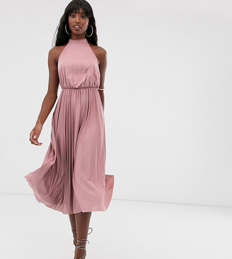 Asos Tall DESIGN Tall Halter Pleated Waisted Midi Dress-Pink