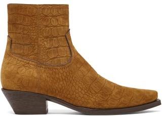 Saint Laurent Lukas Croc-embossed Point-toe Suede Boots - Brown