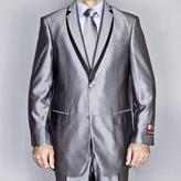 Fiorelli Giorgio Men's Silver Grey Double Layered Lapel Suit