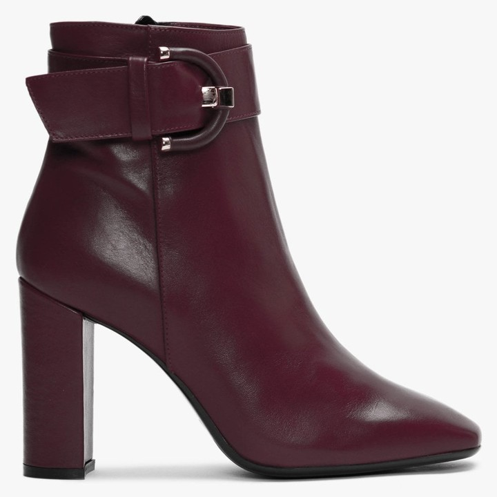 Daniel Ruckle Burgundy Leather Buckle Ankle Boots